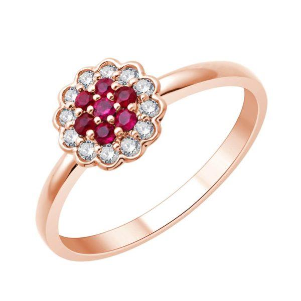 Bague or rose diamants, rubis