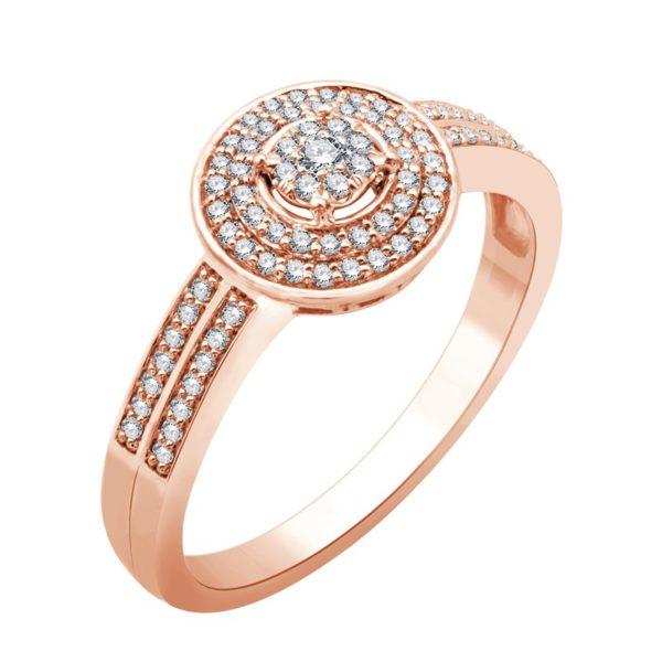Bague or rose diamants
