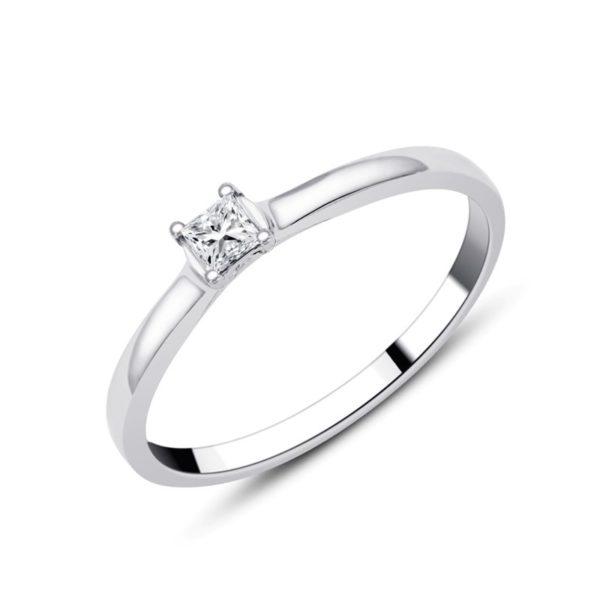 Solitaire or gris diamant