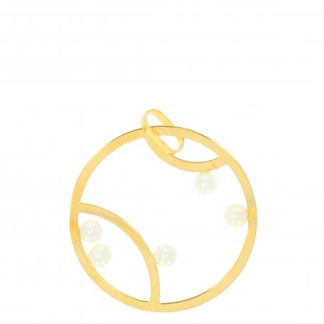 Pendentif or jaune perles
