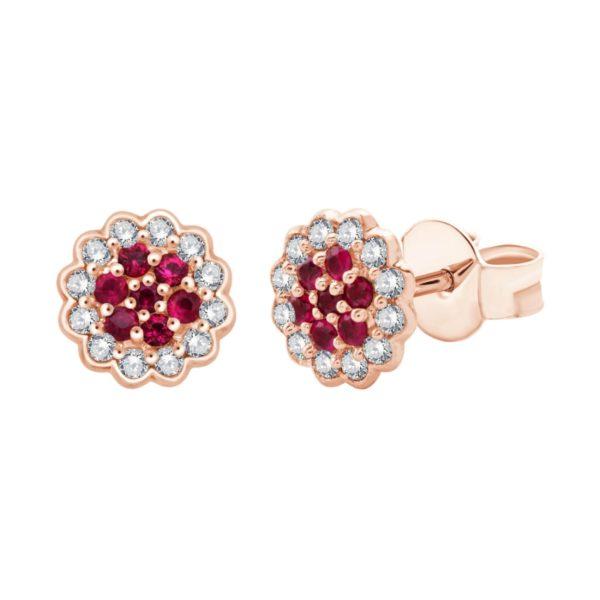 Boucles d'oreilles rubis diamants