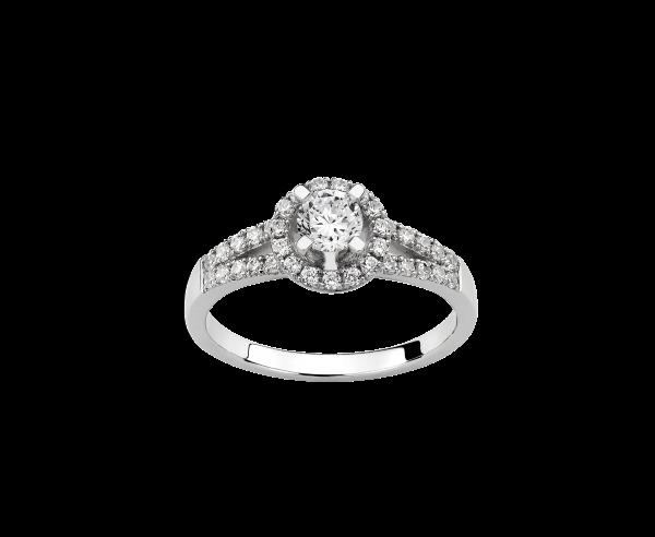 Solitaire or gris diamants