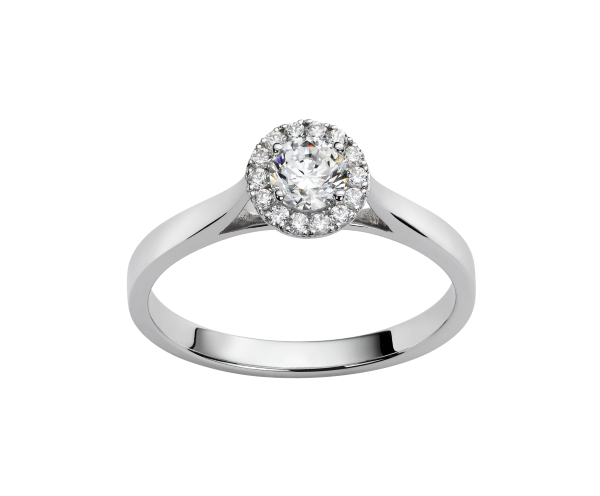 Solitaire or gris diamants