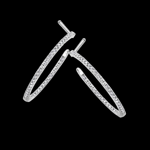 Créoles or gris diamants