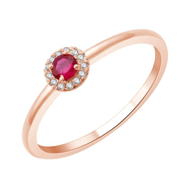 Bague or rose diamants rubis