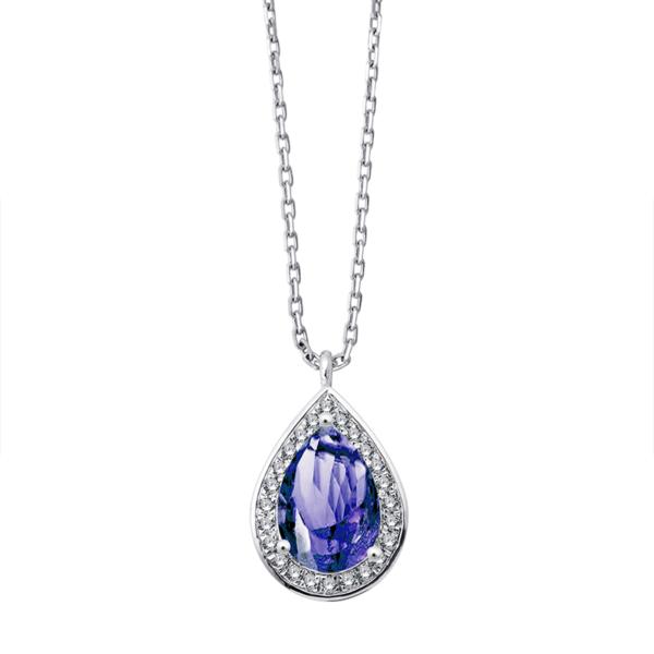 Collier or gris diamants tanzanite