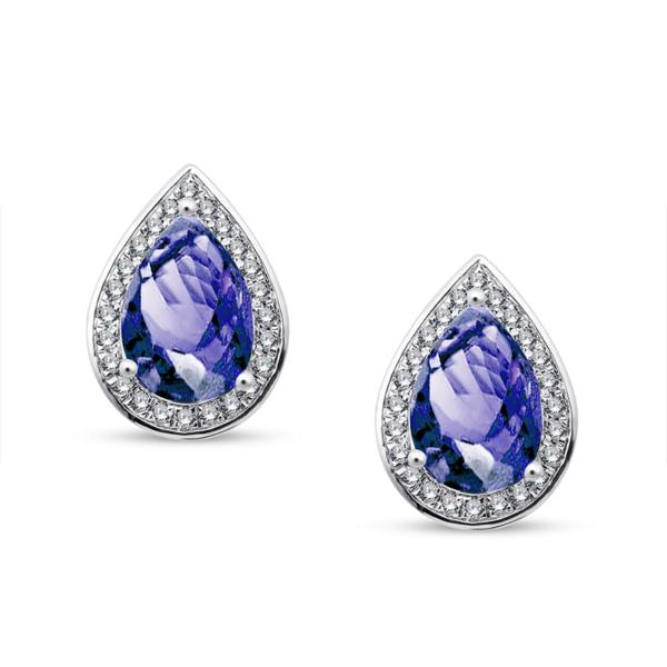 Boucles d'oreilles tanzanites diamants