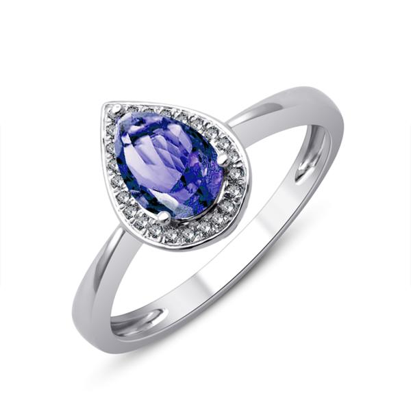 Bague or gris tanzanite diamants