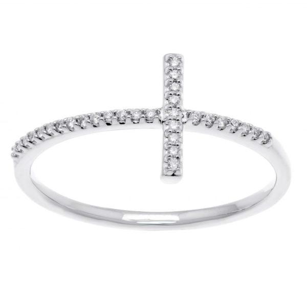 Bague croix diamants