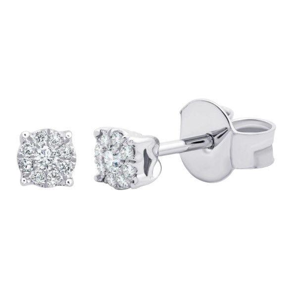 Boucles d'oreilles or gris diamants